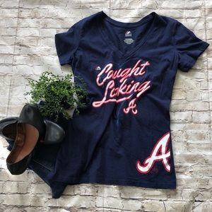 MAJESTIC Atlanta Braves Navy Tshirt SZ XL